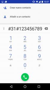 Codigo para llamar con número oculto o privado en android