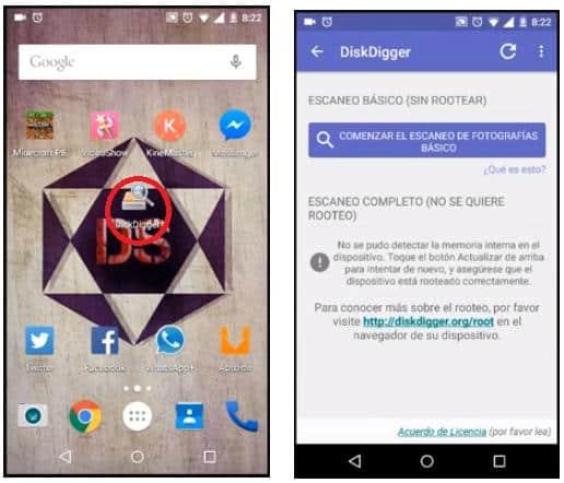 DiskDigger recupera imágenes en android