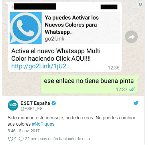 ejemplo de estafa en whatsapp