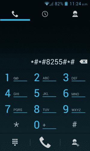 Introducir el código *#*#8255#*#*