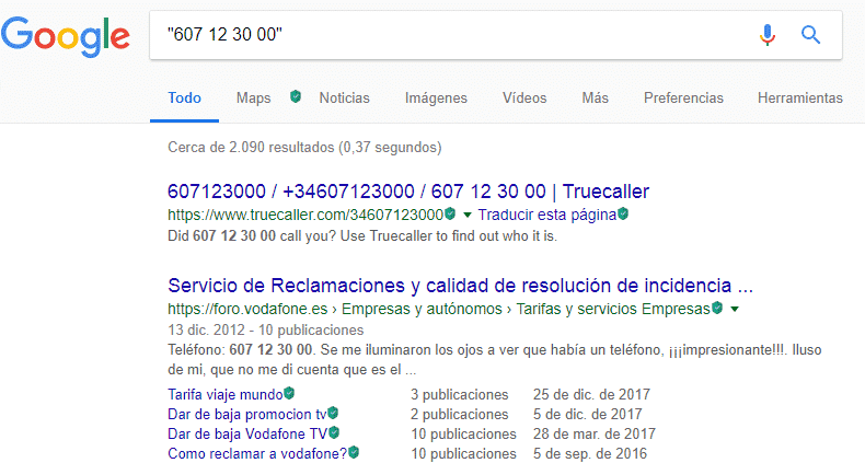 Encontrar un número de teléfono fijo con Google