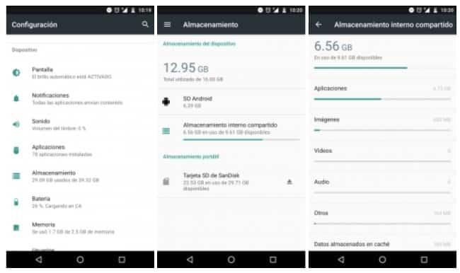 comprobar almacenamiento apps android