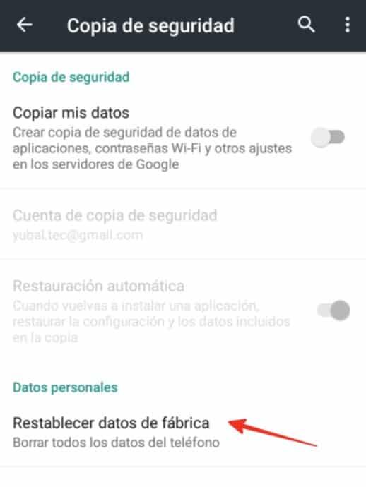 Restablecer configuración fabrica en android