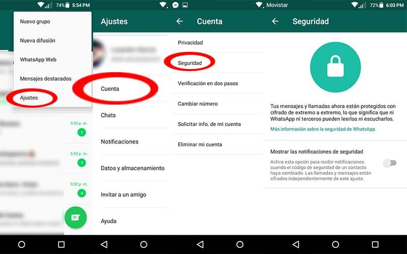 cuenta de whatsapp código pin punk contraseña seguridad notificaciones