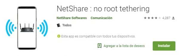 NetShare no root tethering