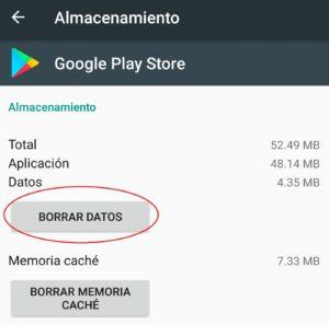 borrar datos de google play store