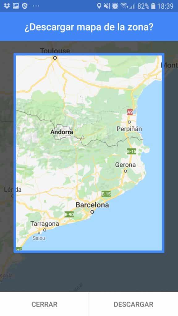 descargar mapas offline de la zona en google maps