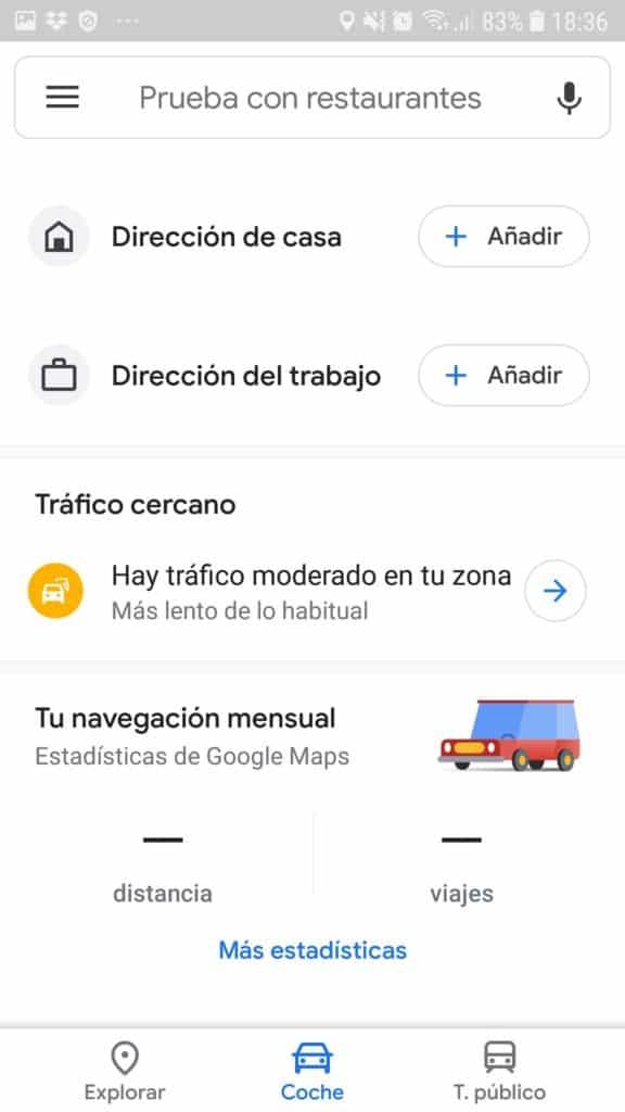 estado del trafico con Google Maps