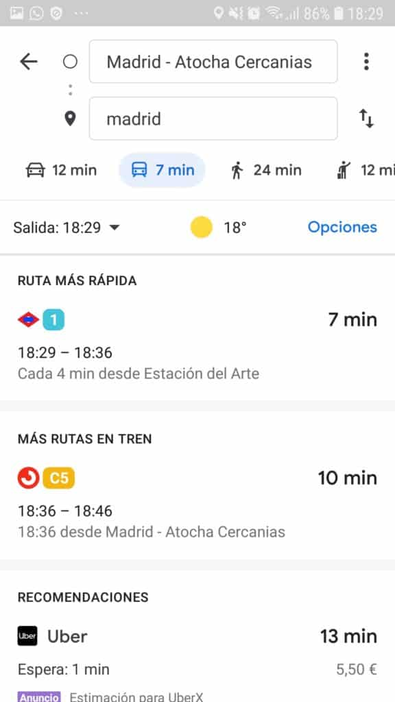 horarios de transporte publico en google maps