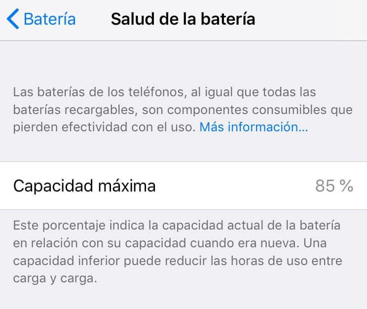 salud de la bateria en iPhone o iPad