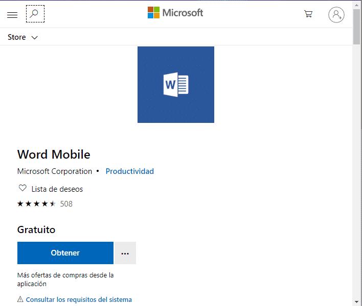 Word Mobile para Windows.