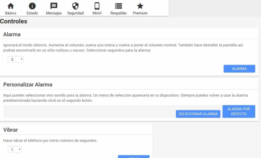 controles web en android lost