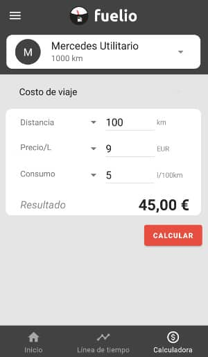 calculadora combustible app fuel.io