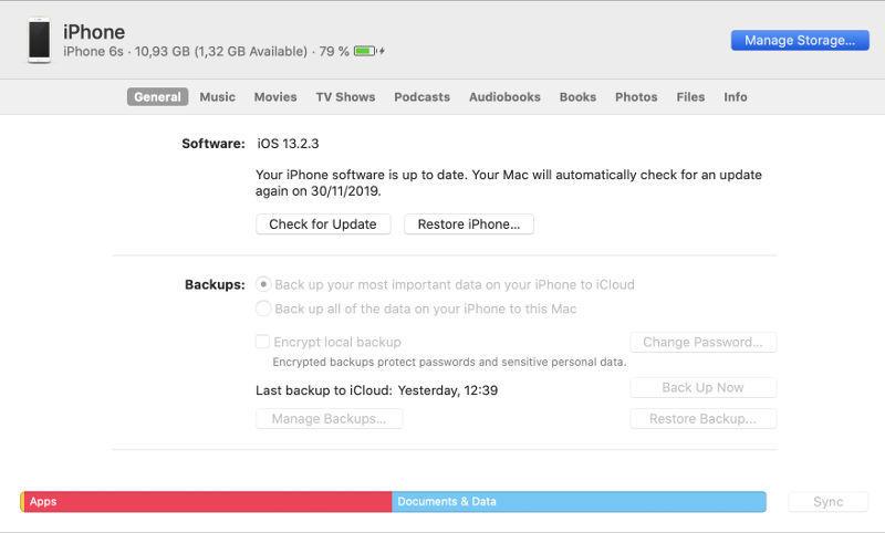 almacenamiento de iPhone desde iTunes