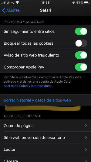 borrar cache iPhone iPad safari