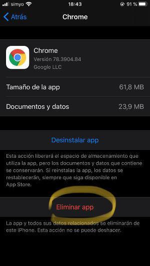 eliminar app pesadas iOS