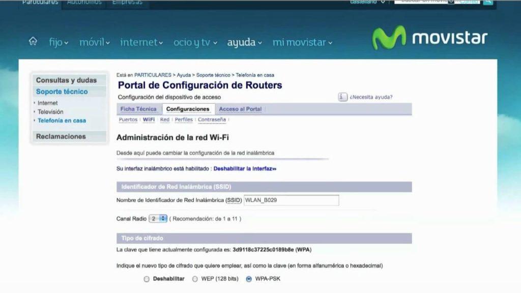 Cambiar la clave wifi del router de movistar desde un celular