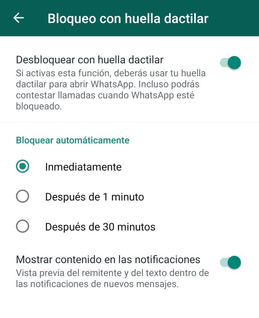elegir intervalo de tiempo volver a solicitar huella en whatsapp android