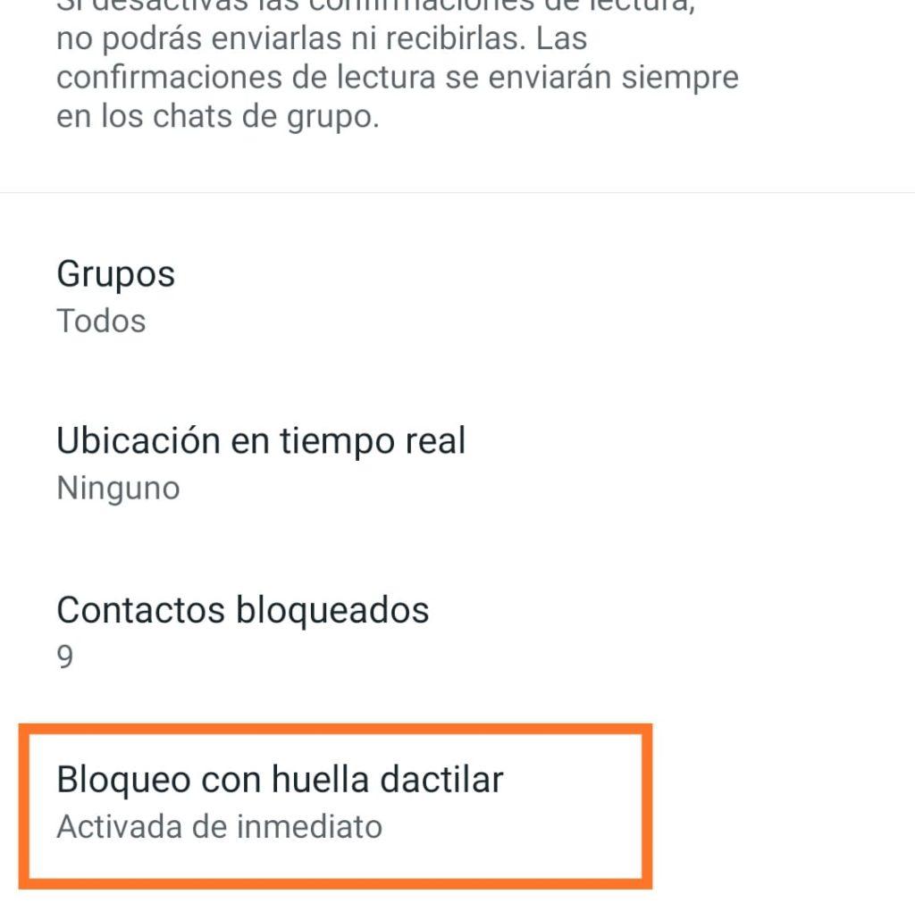 bloquer con huella dactilar whatsapp en android