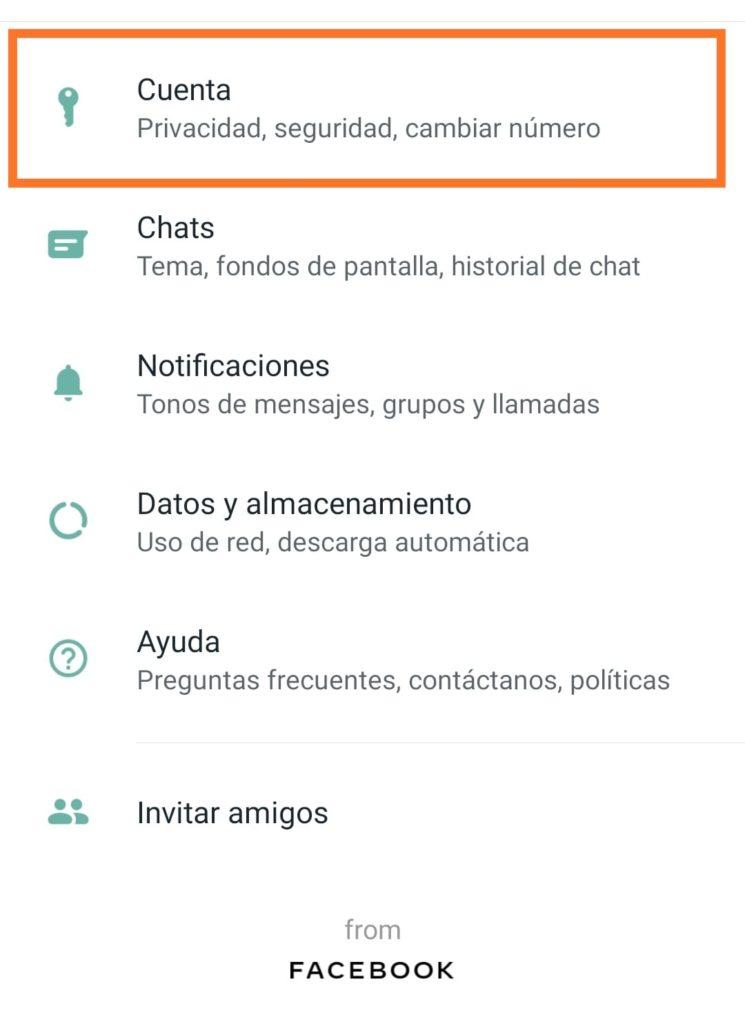 opcion cuenta whatsapp, bloqueo dactilar