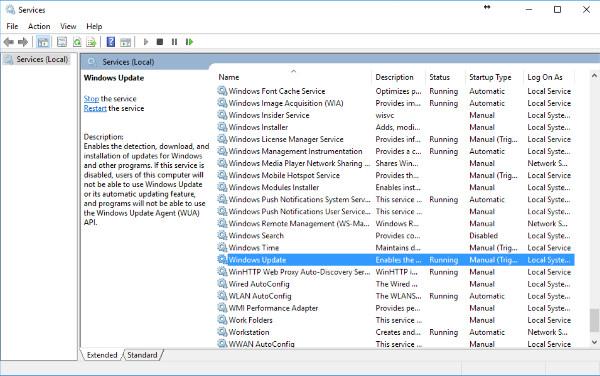 deshabilitar servicio actualizacion windows 10
