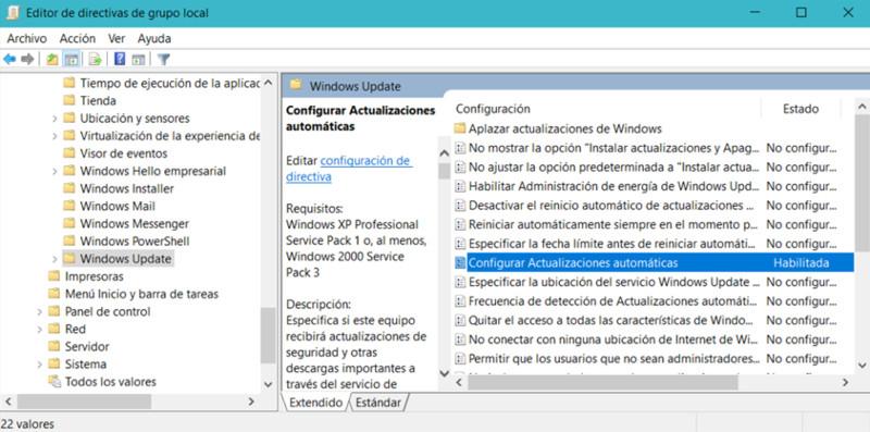 directiva configuracion local desactivar actualizaciones windows