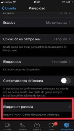 requerir touch id para desbloquear whatsapp