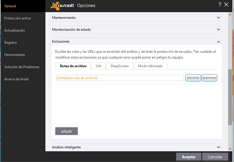 Cómo añadir exclusiones en Avast
