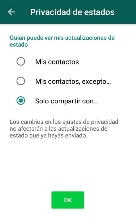 Cómo elegir quiénes pueden ver tus estados en Whatsapp