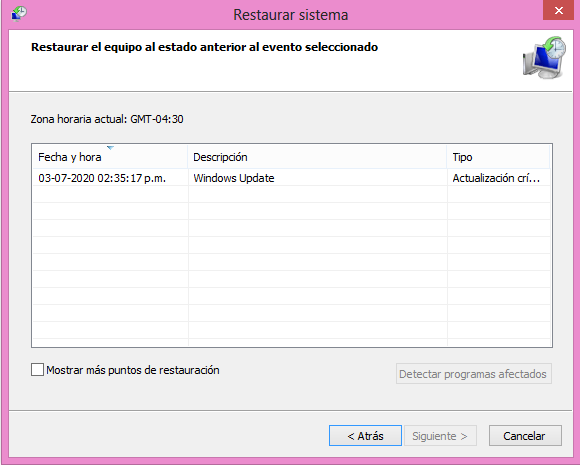 como restaurar windows a evento o momento seleccionado