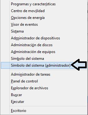 Elige Símbolo del sistema (Administrador)