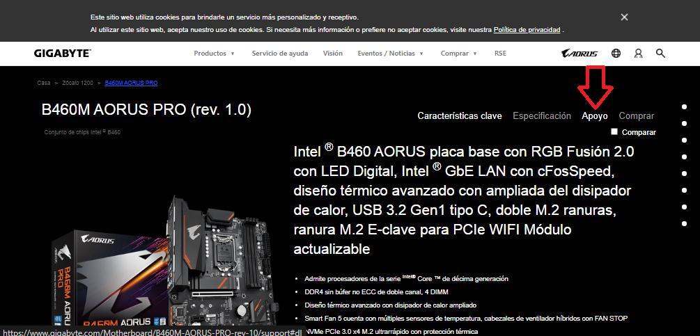 Descargar última actualización de la BIOS
