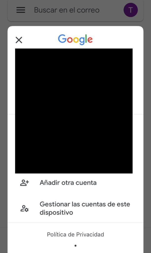 """Modal con la opción """"añadir otra cuenta"""" en la app de Gmail."""