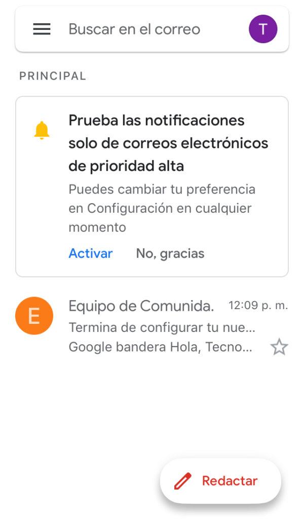 Bandeja de entrada de la cuenta de Gmail creada.