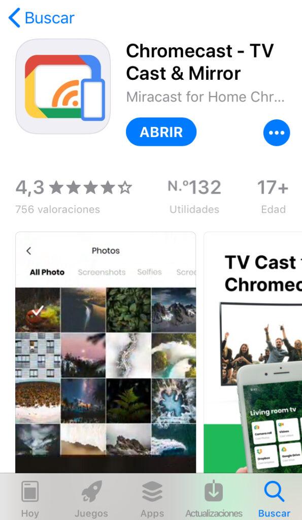 "App ""Chromecast"" en la App Store del iPhone."