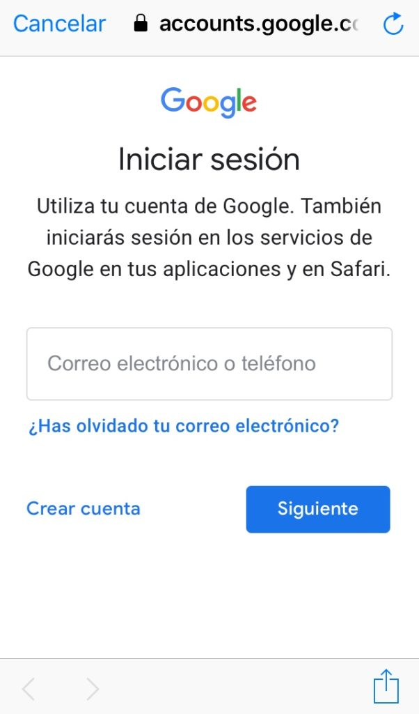 """Enlace """"crear cuenta"""" en la página de inicio de sesión de Gmail"""