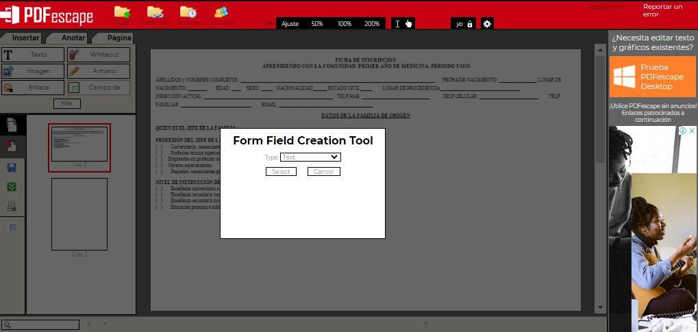 Insertar cuadros de texto en un archivo PDF