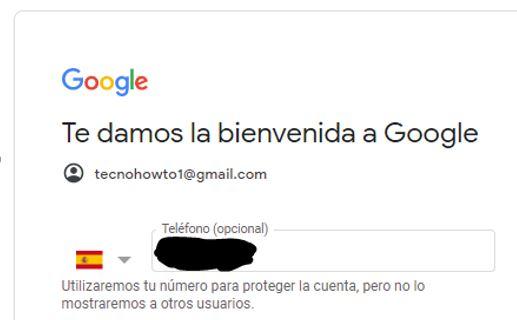 """Formulario con la casilla """"teléfono"""" para crear una cuenta de Gmail."""