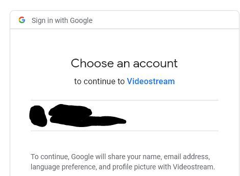 Enlace para iniciar sesión en tu cuenta de Gmail para usar Videostream.