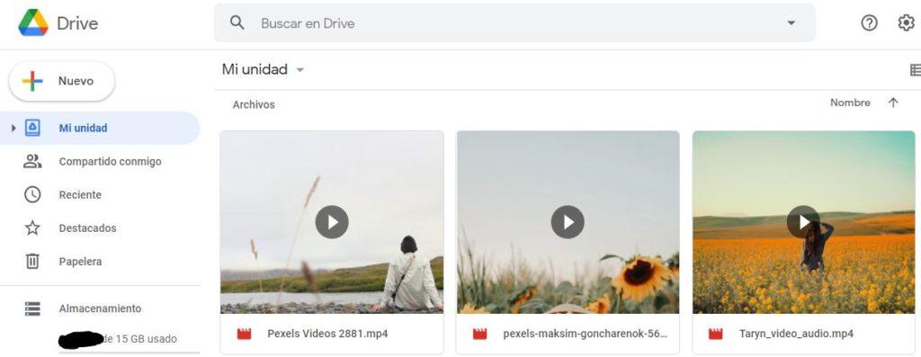 Google Drive con vídeos subidos desde nuestro ordenador.