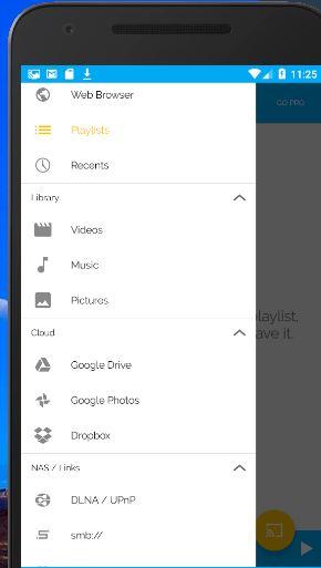 """Opción """"Google Drive"""" del menú de hamburguesa de LocalCast."""