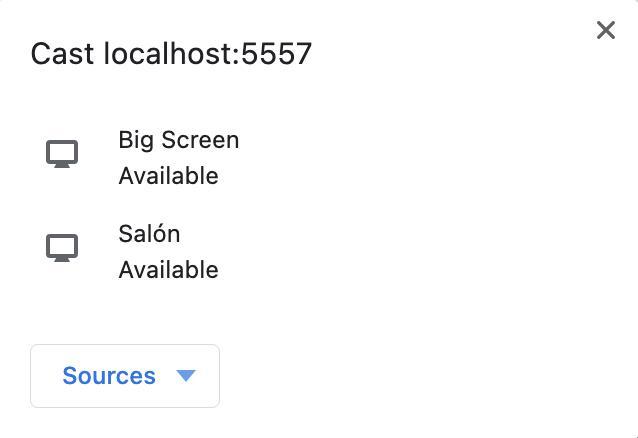 Ventana de Videostream que indica que está buscando nuestro Chromecast.