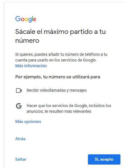 """Opción """"saltar"""" dentro de la ventana que te pide si Google puede usar tu teléfono para enviarte anuncios más relevantes."""