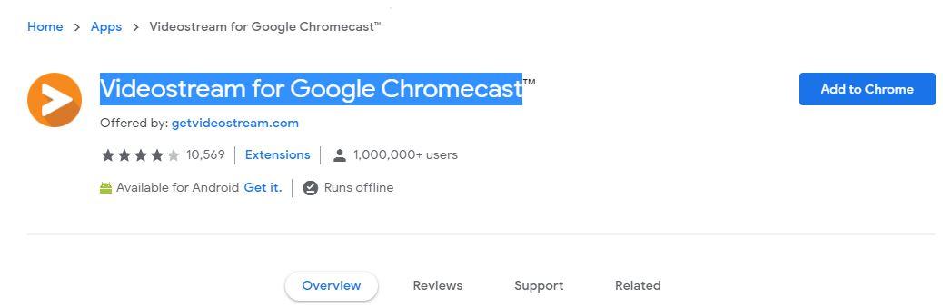 """Página web para descargar la extensión """"Videostream"""" para Chrome."""