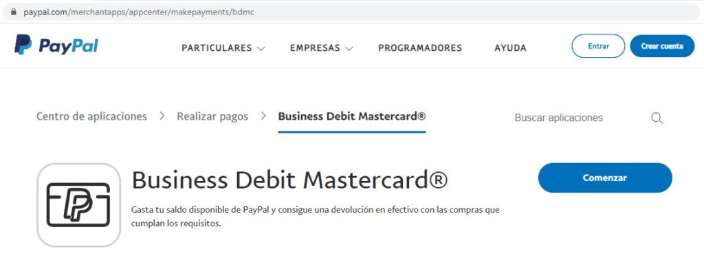 Página web de la tarjeta de débito Business Mastercard de PayPal.