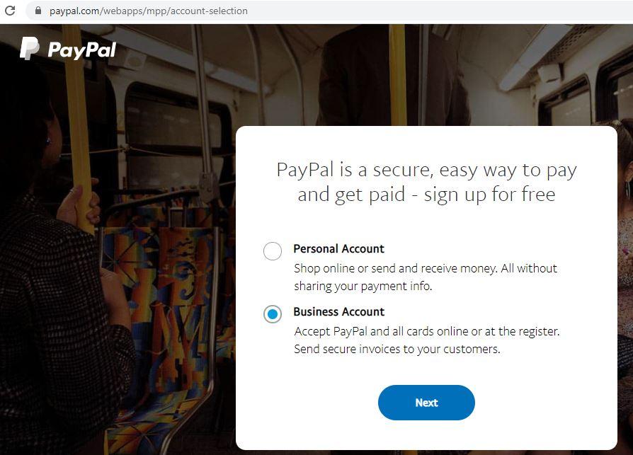Opción para crear una cuenta Business o Personal en PayPal.