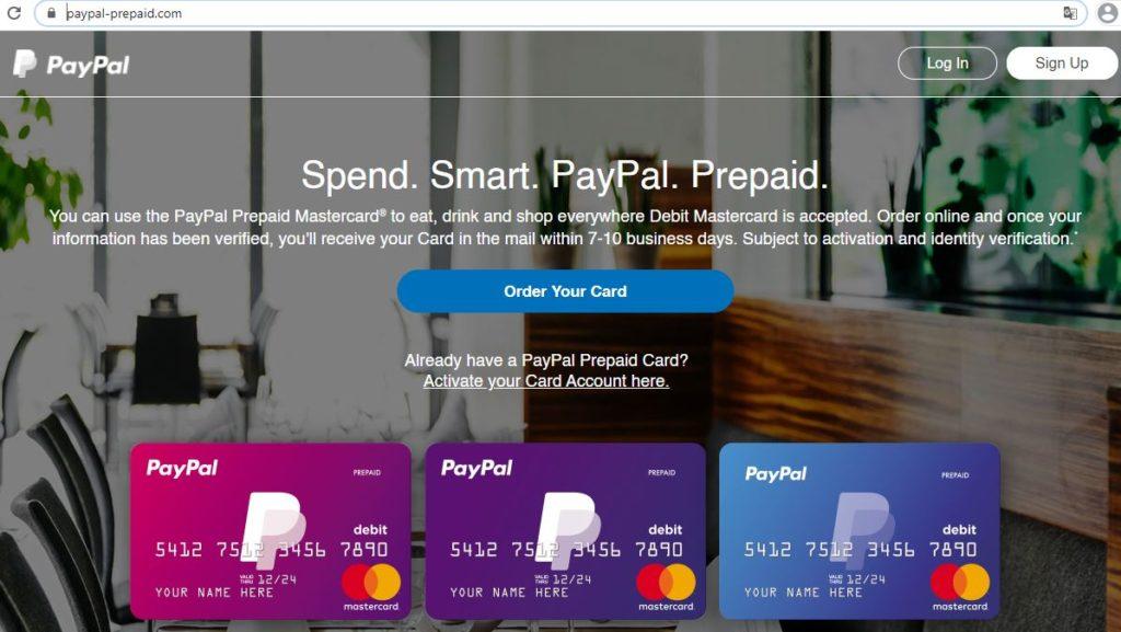 Página web de la tarjeta de prepago de PayPal.