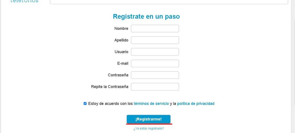 Formulario registro abc telefonos