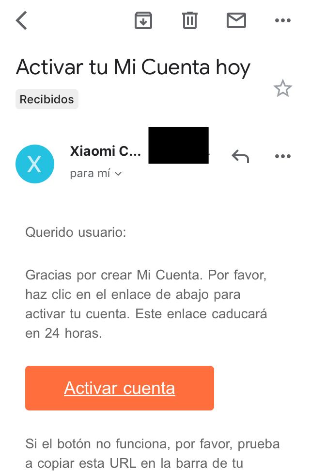Email con enlace para terminar de crear tu cuenta de Xiaomi Cloud.