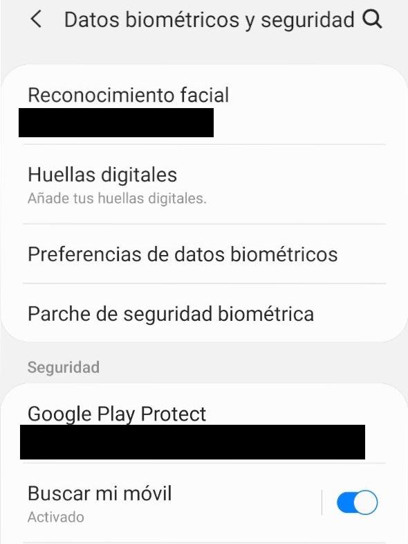 """Opción """"Datos biométricos"""" del menú de ajustes del móvil."""